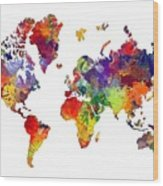 World Map 8 Watercolor Print  Wood Print