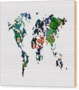 World Map 8b Wood Print