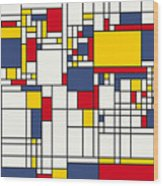 World Map Abstract Mondrian Style Wood Print by Michael Tompsett