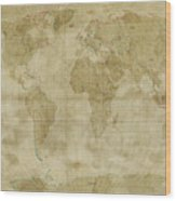 World Map Antique Style Wood Print