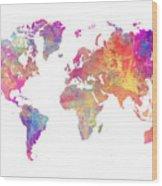 World Map Art Wood Print
