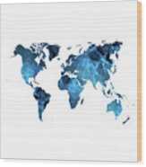 World Map Blue Wood Print