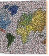World Map Bottle Cap Mosaic Wood Print