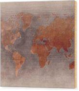 World Map Brown Wood Print