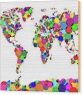World Map Circles Wood Print by Michael Tompsett