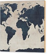 World Map Distressed Navy Wood Print by Michael Tompsett