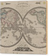 World Map Divided Into Two Hemispheres Wood Print