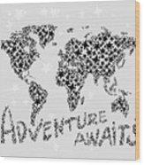 World Map For Kids Black Star Wood Print