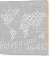 World Map For Kids White Gray Wood Print