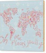 World Map Geometric Pink Mint  Wood Print