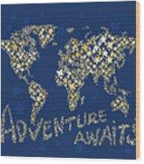 World Map Gold Yellow Star Navy Blue Wood Print