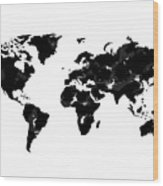 World Map In Black And White Wood Print