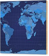 World Map In Blue Wood Print by Michael Tompsett