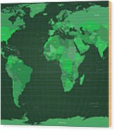 World Map In Green Wood Print
