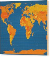World Map In Orange And Blue Wood Print