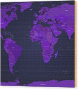 World Map In Purple Wood Print by Michael Tompsett