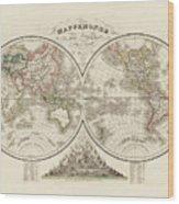 World Map In Two Hemispheres Wood Print