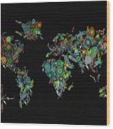 World Map Mandala Feathers 2 Wood Print