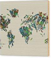World Map Mandala Feathers 3 Wood Print