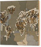 World Map Mandala Feathers 4 Wood Print