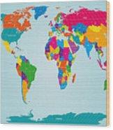 World Map  Wood Print by Michael Tompsett