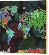 World Map Monstera Leaves  8 Wood Print