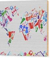 World Map Music 3 Wood Print