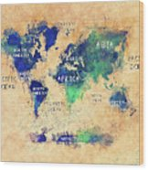 World Map Oceans And Continents Art Wood Print