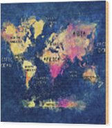World Map Oceans And Continents Wood Print