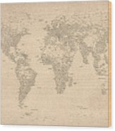 World Map Of Cities Wood Print by Michael Tompsett