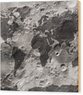 World Map On The Moon's Surface Wood Print