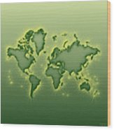 World Map Opala Square In Green And Yellow Wood Print