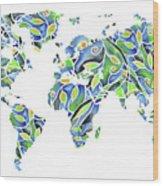 World Map Organic Green And Blue Wood Print
