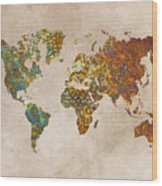 World Map Oriental Wood Print