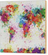 World Map Paint Drop Wood Print