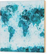 World Map Paint Splashes Blue Wood Print by Michael Tompsett