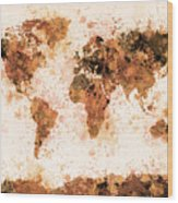 World Map Paint Splashes Bronze Wood Print