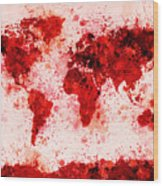 World Map Paint Splashes Red Wood Print by Michael Tompsett
