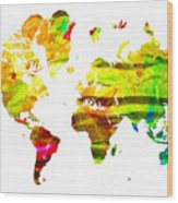 World Map Painted Wood Print