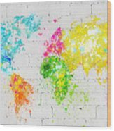 World Map Painting On Brick Wall Wood Print