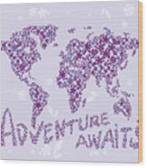 World Map Purple Lavender Floral Pattern Wood Print
