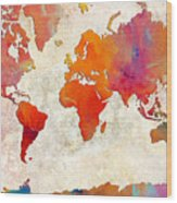 World Map - Rainbow Passion - Abstract - Digital Painting 2 Wood Print