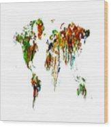 World Map Running Paint 01 Wood Print