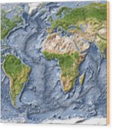 World map shaded relief with ocean floor canvas print canvas art world map shaded relief with ocean floor wood print gumiabroncs Choice Image
