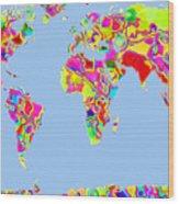 World Map Viscous Wood Print