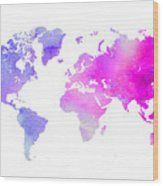 World Map Watercolor  Wood Print