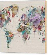 World Map Watercolors Wood Print