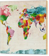 World Map Watercolors Wood Print