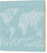 World Map White Flowers Aqua Blue Wood Print