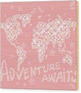 World Map White Flowers Pink Wood Print